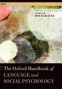 The Oxford Handbook of Language and Social Psychology Pdf/ePub eBook