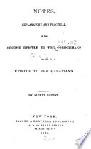Notes Explanatory And Practical On The Second Epistle To The Corinthians And The Epistle To The Galatians