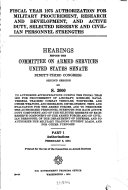 Fiscal Year 1975 Authorization for Military Procurement, Research, and Development, and Active Duty, Selected Reserve and Civilian Personnel Strengths