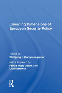 Emerging Dimensions Of European Security Policy Pdf/ePub eBook