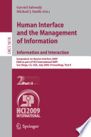 Human Interface and the Management of Information  Information and Interaction Book