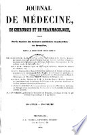 Journal de médecine, de chirurgie et de pharmacologie