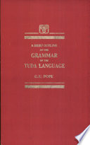 A Brief Outline of the Grammar of the Tuda Language