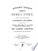 Ontario County Directory Book