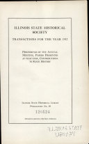 Transactions of the Illinois State Historical Society Book