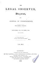 The Legal Observer Digest And Journal Of Jurisprudence