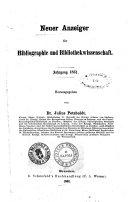 Neuer Anzeiger fur Bibliographie und Bibliothekwissenschaft