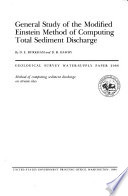 General Study of the Modified Einstein Method of Computing Total Sediment Discharge Book PDF