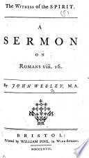 The Witness of the Spirit  A Sermon on Romans Viii  16