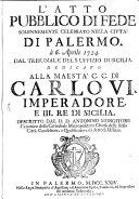 L' atto publico di fede solennemente celebrato nella città di Palermo