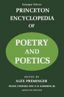 Pdf Princeton Encyclopaedia of Poetry and Poetics Telecharger