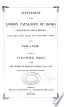 London Catalogue Of Books