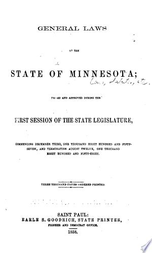 Download PDF >> General Laws of the State of Minnesota Free Online Books - Free eBook Collection