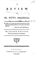 A Review of Mr  Pitt s Administration