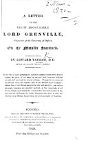 A Letter to ... Lord Grenville ... on the Metallic Standard