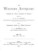 The Western Antiquary  Or  Devon and Cornwall Note book