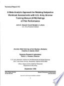 A Meta analytic Approach for Relating Subjective Workload Assessments with U S  Army Aircrew Training Manual  ATM  Ratings of Pilot Performance