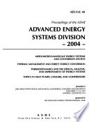 Proceedings of the ASME Advanced Energy Systems Division