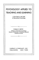 Psychology Applied To Teaching And Learning Book PDF