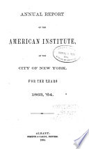 Annual Report of the American Institute, of the City of New York
