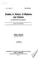 Studies in History of Medicine and Science