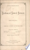 Proceedings Of The Academy Of Natural Sciences Part Iii Nov And Dec 1879