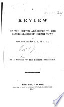 A Review of the Letter addressed to the Householders of Hobart Town [on the effects of transportation], by the Reverend H. P. Fry
