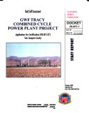 Final Staff Assessment, GWF Tracy Combined Cycle Power Plant Project