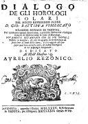 Pdf con ... agiunta di un horologio da servirsene al lume della luna, etc. [Edited by S. Piobici.]