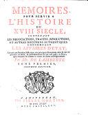 Memoires Pour Servir À L'histoire Du XVIII Siècle