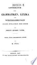 Litteratur der Grammatiken, Lexika und Wörtersammlungen aller Sprachen der Erde
