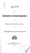 Acts of the     Legislature of the State of New Jersey Book