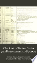 Checklist of United States Public Documents 1789 1909