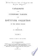 Catalogue Of The Cuneiform Tablets In The Kouyunjik Collection Of The British Museum PDF