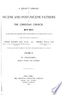 A Select Library Of Nicene And Post Nicene Fathers Of The Christian Church St Athanasius Select Works And Letters 1892