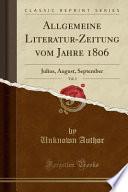 Allgemeine Literatur-Zeitung vom Jahre 1806, Vol. 3