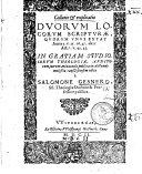 Collatio et explicatio Duorum Locorum Scripturae ...