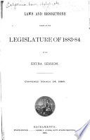 Laws and resolutions passed by Legislature of 1883 84 at its extra session   convened March 24  1884