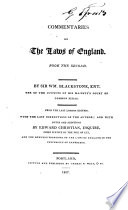 """""""Commentaries on the Laws of England: In Four Books"""" by William Blackstone, Edward Christian"""