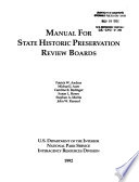 Manual for State Historic Preservation Review Boards