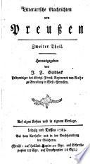 Litterarische Nachrichten von Preußen