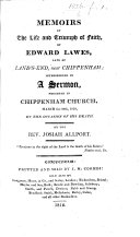 Memoirs of the Life and Triumph of Faith of Edward Lawes     interspersed in a sermon preached     on the occasion of his death