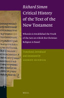 Richard Simon Critical History of the Text of the New Testament