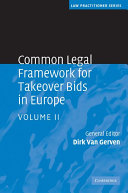 Common Legal Framework for Takeover Bids in Europe: