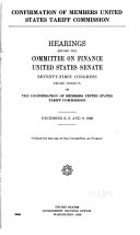 Confirmation of Members United States Tariff Commission