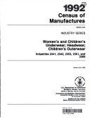 1992 Census of Manufactures Women s and Children s Underwear  Headwear  Children s Outerwear