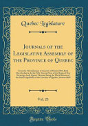 Journals Of The Legislative Assembly Of The Province Of Quebec Vol 23
