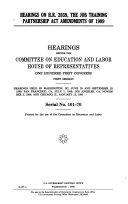 Hearings on H R  2039 the job training partnership act amend