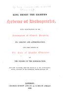 King Henry the Eighth's Scheme of Bishopricks
