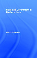 Pdf State and Government in Medieval Islam Telecharger
